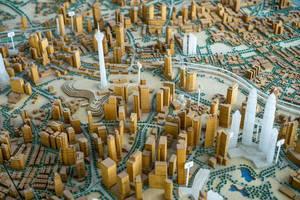 Ein Model der Stadt Kuala Lumpur in Malaysia