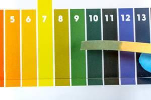 Ein PH Indikator Teststreifen wird über einer PH Testschablone gehalten Draufsicht