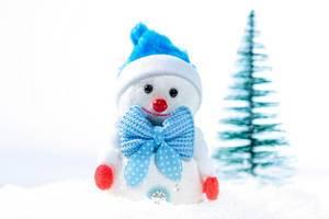 Ein Schneemann mit einer blauen Mütze und einer blauen Fliege im Schnee