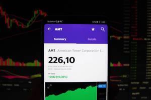 Ein Smartphone zeigt den American Tower Corporation Marktwert