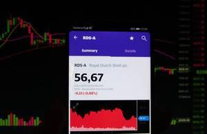 Ein Smartphone zeigt den Royal Dutch Shell plc Marktwert