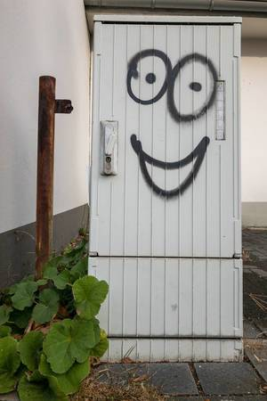 Ein Stromverteilerkasten mit Gesicht - Graffitti