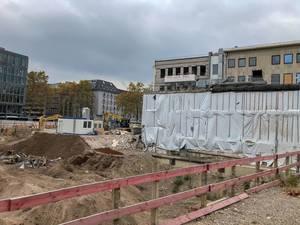 Eine Baustelle in der Innenstadt Frankfurts