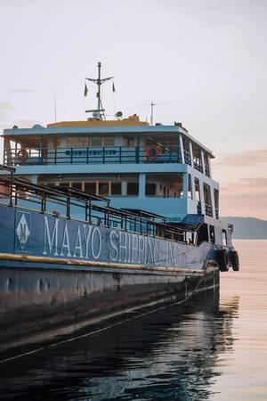 Eine Fähre dockt im Hafen von Dumaguete auf Negros an