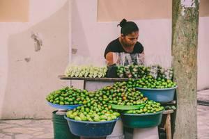 Eine Frau verkauft Spondias und Mangos auf der Straße in Honduras