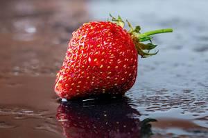 Eine frische, rote Erdbeere mit Wassertropfen