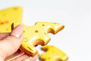 Eine Person hält ein Stück gelben Lebkuchen in Käseform vor weißem Hintergrund Nahaufnahme
