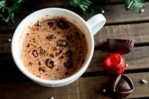 Eine Tasse heiße Schokolade mit Schokoladen-Bonbons und Tannenzweigen