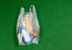 Einkauf in einer Plastiktüte auf grünem Hintergrund