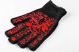 Einzelner Handschuh in schwarz mit rotem Blumen-Muster, auf weißem Hintergrund