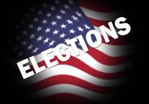 Elections text over USA flag