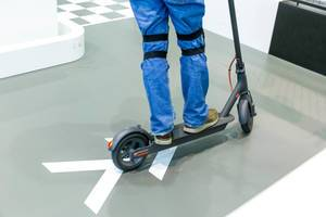 Electric Scooter indoor test: Man drives the MI E-Scooter by Xiaomi