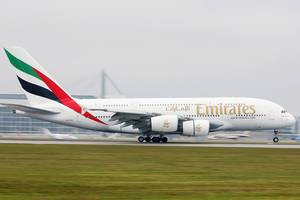 Emirates Airbus A380 touching down at Munich Airport