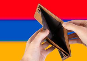 Empty Wallet with Flag of Armenia. Recession and Financial Crisis to come with more debt and federal budget deficit?
