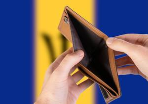 Empty Wallet with Flag of Barbados. Recession and Financial Crisis to come with more debt and federal budget deficit?