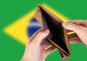 Empty Wallet with Flag of Brasil. Recession and Financial Crisis to come with more debt and federal budget deficit?