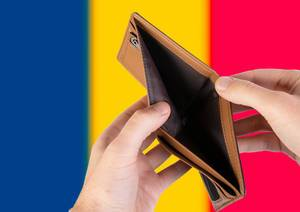 Empty Wallet with Flag of Chad. Recession and Financial Crisis to come with more debt and federal budget deficit?