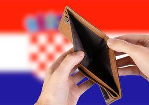 Empty Wallet with Flag of Croatia. Recession and Financial Crisis to come with more debt and federal budget deficit?