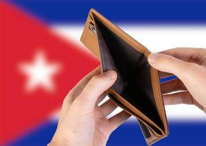 Empty Wallet with Flag of Cuba. Recession and Financial Crisis to come with more debt and federal budget deficit?