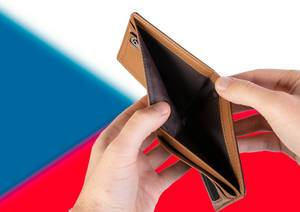Empty Wallet with Flag of Czech Republic. Recession and Financial Crisis to come with more debt and federal budget deficit?