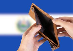 Empty Wallet with Flag of El Salvador. Recession and Financial Crisis to come with more debt and federal budget deficit?