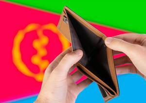 Empty Wallet with Flag of Eritrea. Recession and Financial Crisis to come with more debt and federal budget deficit?