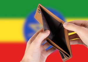 Empty Wallet with Flag of Ethiopia. Recession and Financial Crisis to come with more debt and federal budget deficit?