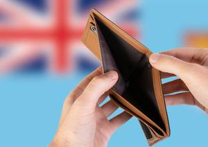 Empty Wallet with Flag of Fiji. Recession and Financial Crisis to come with more debt and federal budget deficit?