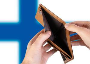 Empty Wallet with Flag of Finland. Recession and Financial Crisis to come with more debt and federal budget deficit?