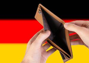 Empty Wallet with Flag of Germany. Recession and Financial Crisis to come with more debt and federal budget deficit?
