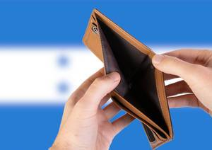 Empty Wallet with Flag of Honduras. Recession and Financial Crisis to come with more debt and federal budget deficit?