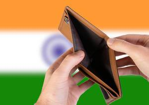 Empty Wallet with Flag of India. Recession and Financial Crisis to come with more debt and federal budget deficit?
