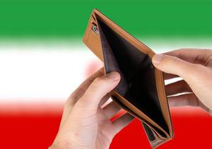 Empty Wallet with Flag of Iran. Recession and Financial Crisis to come with more debt and federal budget deficit?