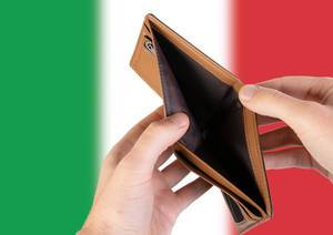 Empty Wallet with Flag of Italy. Recession and Financial Crisis to come with more debt and federal budget deficit?