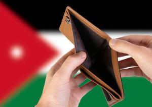 Empty Wallet with Flag of Jordan. Recession and Financial Crisis to come with more debt and federal budget deficit?