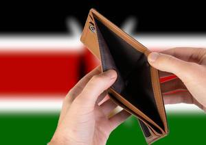 Empty Wallet with Flag of Kenya. Recession and Financial Crisis to come with more debt and federal budget deficit?