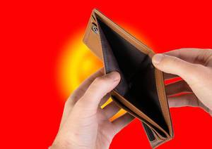 Empty Wallet with Flag of Kyrgyzstan. Recession and Financial Crisis to come with more debt and federal budget deficit?