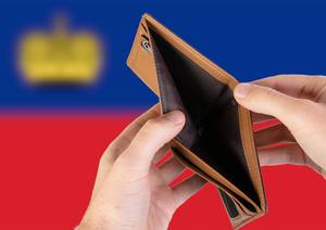 Empty Wallet with Flag of Liechtenstein. Recession and Financial Crisis to come with more debt and federal budget deficit?