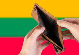 Empty Wallet with Flag of Lithuania. Recession and Financial Crisis to come with more debt and federal budget deficit?