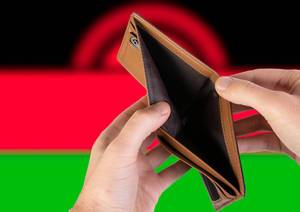 Empty Wallet with Flag of Malawi. Recession and Financial Crisis to come with more debt and federal budget deficit?