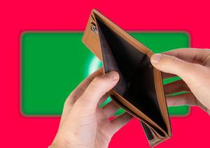 Empty Wallet with Flag of Maldives. Recession and Financial Crisis to come with more debt and federal budget deficit?