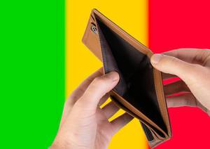 Empty Wallet with Flag of Mali. Recession and Financial Crisis to come with more debt and federal budget deficit?