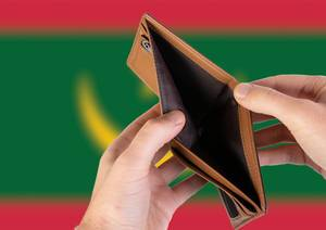 Empty Wallet with Flag of Mauritania. Recession and Financial Crisis to come with more debt and federal budget deficit?
