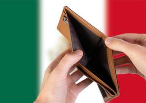 Empty Wallet with Flag of Mexico. Recession and Financial Crisis to come with more debt and federal budget deficit?