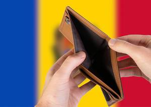 Empty Wallet with Flag of Moldova. Recession and Financial Crisis to come with more debt and federal budget deficit?