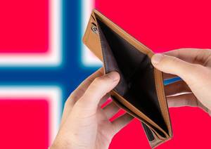 Empty Wallet with Flag of Norway. Recession and Financial Crisis to come with more debt and federal budget deficit?