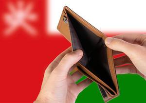 Empty Wallet with Flag of Oman. Recession and Financial Crisis to come with more debt and federal budget deficit?