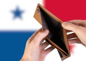 Empty Wallet with Flag of Panama. Recession and Financial Crisis to come with more debt and federal budget deficit?