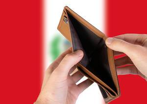 Empty Wallet with Flag of Peru. Recession and Financial Crisis to come with more debt and federal budget deficit?