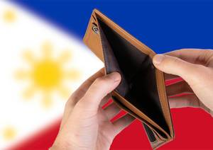 Empty Wallet with Flag of Philippines. Recession and Financial Crisis to come with more debt and federal budget deficit?